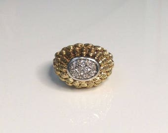 Estate 14K Yellow Gold 0.10 CTW Diamond Cluster Dome Ring 8 Grams Size 6.5