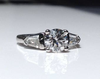 Estate Platinum 1.93 CTW Diamond Three Stone Engagement Ring 8 Grams Size 5