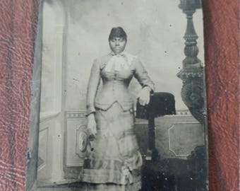 Beautiful Antique Tintype Photograph of African American Woman in Lovely Dress and Gloves