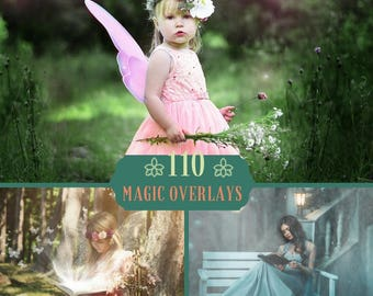 110 Magic Overlays, Fairy Overlays, Magic Lights overlay, Fairy Tail, Photoshop overlay, Digital backdrop, Magic shine book, Magic Fireflies