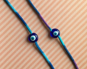 Evil eye glass bead crochet bracelet