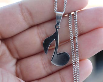 Stainless Steel Music Lovers Pendant Necklace, Music Charm, Music Pendant, Doen't tarnish, Jewelry Supplies.