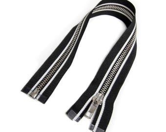 Zipper open end for Biker jackets black/white