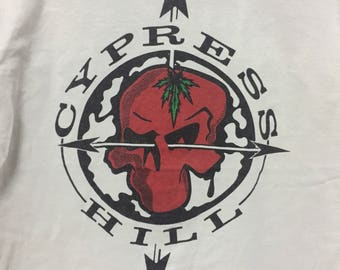RARE!!! Vintage 90s CYPRESS HILL Shirt Hip Hop Band Spell Out Big Logo Swag Hip Hop//White Color//Large Size//Made in usa