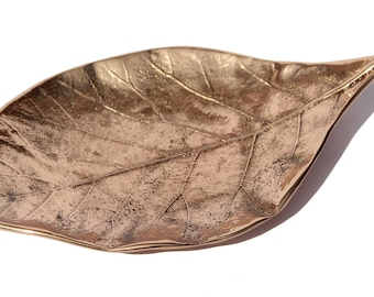 Candle Holder Decorative Handmade Cast Bronze Leaf