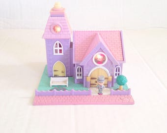 Vintage polly pocket Pollyville Wedding Chapel Church with Groom bluebird toys 1993 light up