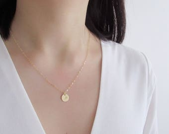 Free shipping! Gold disc dainty necklace, gold filled necklace, gold disc necklace, silver disc necklace, personalized monogram necklace, in