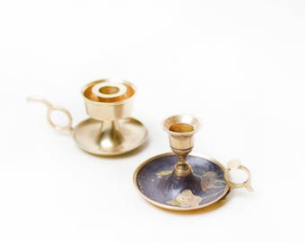 Brass Candlestick Holders, Cloisonné and Full Brass
