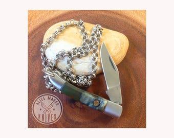 "2 1/4"" Green Resin Buckeye Burl Knife Necklace Pendant"
