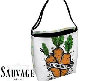 Real Food you know - Totally vegan, Totally handmade vegan tote bag