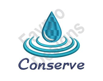 Conserve Water - Machine Embroidery Design