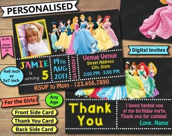 Disney princess Invites, Girl princess Birthday Invite, Disney princess Birthday Invitation, princess Birthday Party Invite, Disney princess