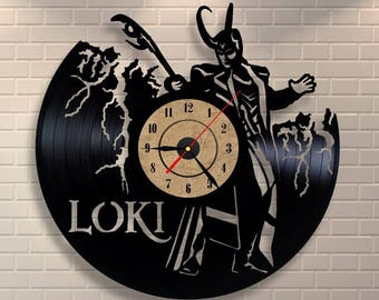 Loki art wall clock made of vinyl record.