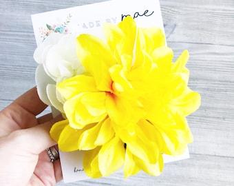 Flower Hair Clip, Flower Hair Wreath, Yellow and White Flower Hair Clip, Photography Prop, Flower Clip, Baby Photo Prop, Hawaiian Flower