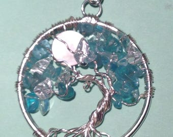 Apatite & Quartz Tree of Life Necklace  Pendant with Artistic Wire Silver  Plated. Tarnish Resistant Silver.