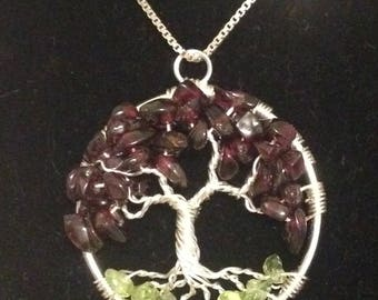 Sale! Garnet Peridot Necklace Pendant,Tree of Life Necklace. Silver Plated Wire .Tarnish Resistant Silver.Silverplated Chain