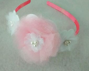 Headband with tulle and organza flowers n
