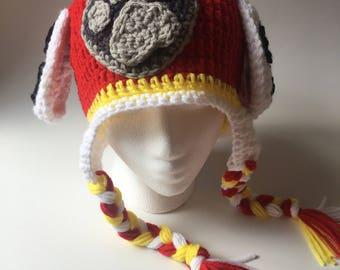 Paw Patrol Marshall crochet hat