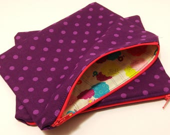 Large Purple Polka Dotted Zipper Pouch - makeup bag; pencil case; gift for her; cosmetic bag; carry all; gadget case; birthday; bridesmaids