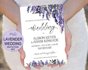 Lavender Wedding Invitation Template Set Purple Flowers Watercolor Invite  Set  DIY Printable Invitations