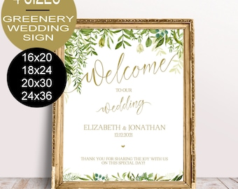 Greenery Wedding Welcome Sign Template,Wedding Reception Greet Guests, Printable Welcome to Our Wedding Poster Board DIY Template| VRD150SGG