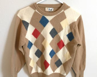 Vintage Pringle of Scotland lambswool sweater argyle tan sz M L jumper