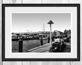 Vintage Photograph, Black and White, Giclee Print, Coastal, Morton Johnson's Boat Works, Point Pleasant, New Jersey.