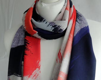 Abstract paint brush print scarf, Brush stroke print scarf, Gift for art lover/Artist, Lightweight scarf, Fashion scarf, Shawl