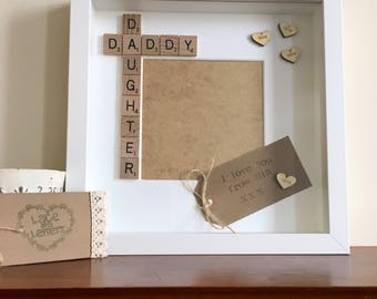 Daddy daughter scrabble frame gift, Father's Day gift, Daddy gift