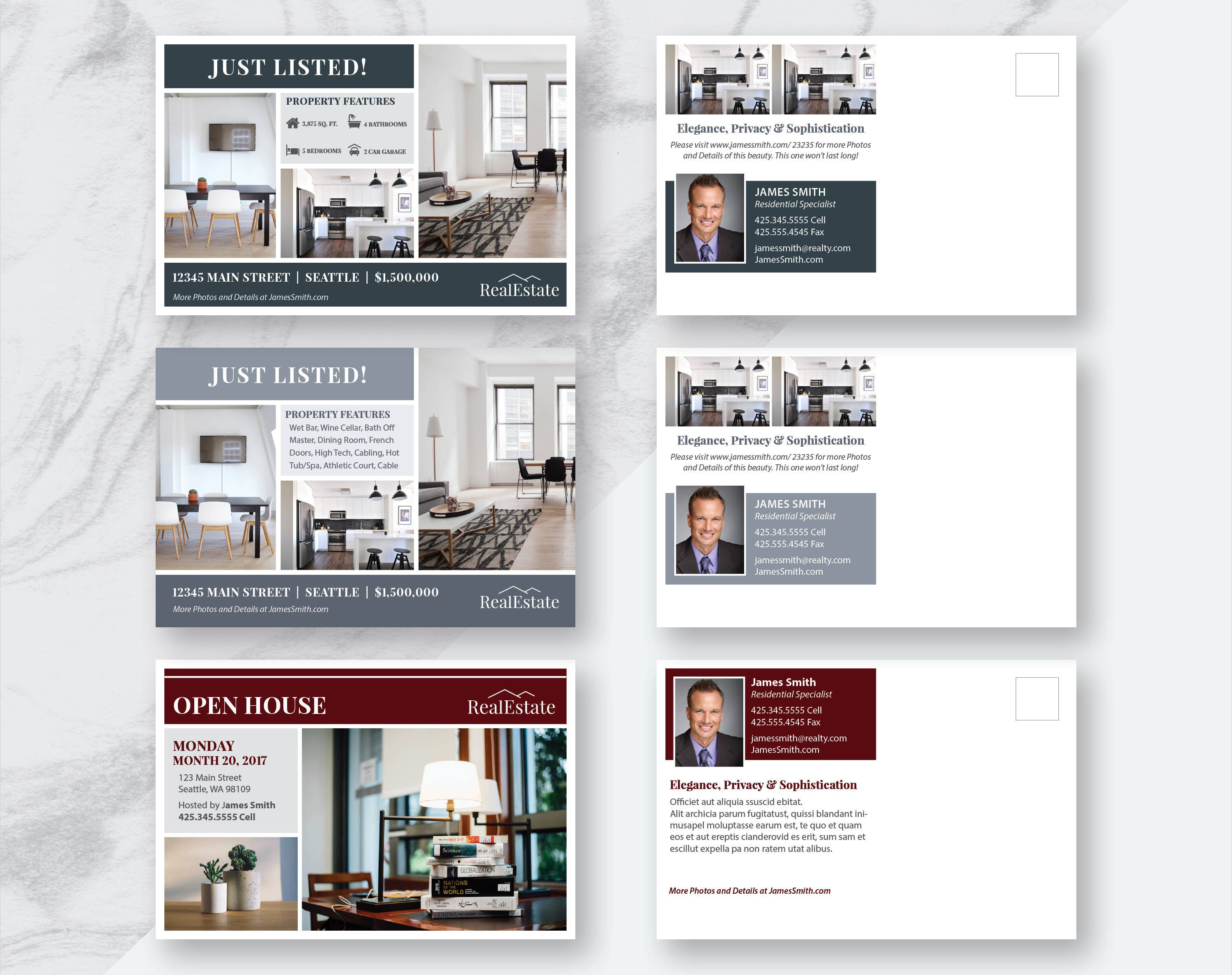 Real Estate Marketing Postcards Bundle | 3 Postcard Templates | 6 ...