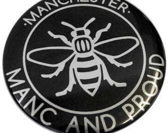 Black and Silver Manc and Proud Fridge Magnet - Made in UK - Chrome Mirror Manchester Bee Northern Gift