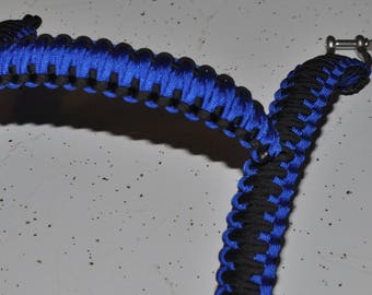 "Black and Blue 10"" Paracord Grab Handles"