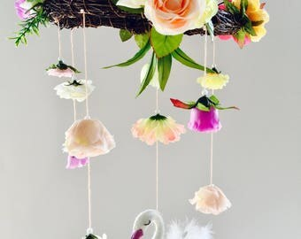 Floral mobile with a Swan