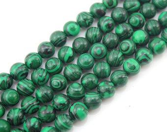 "Malachite Jasper Gemstone Beads stone Malachite Jasper Stone Beads - One Full Strand 15""-NS-020"