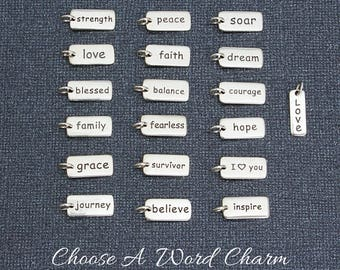 Word Charm, Sterling Silver Add Charm Fearless Survivor Believe Strength Love Blessed Family Grace Journey Peace Faith Balance Inspire Soar