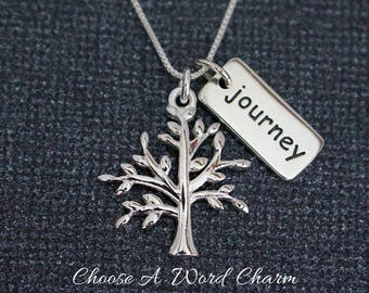 Tree Of Life Journey Word Charm Sterling Silver Necklace, Symbolic Family Tree Gift Sister Mom, Tree Journey Life Gift, Tree O Life Necklace