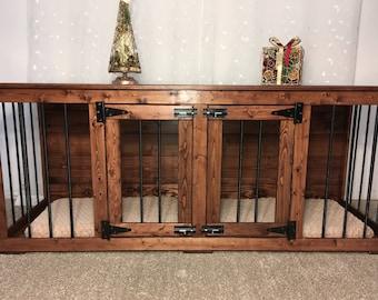 Red Oak (#1 on Etsy) Double Dog Kennel/ Dog Kennel/Custom Kennel/Handmade Kennel/Dog Bed/Dog Crate Furniture/Pet Furniture/Handcrafted Wood