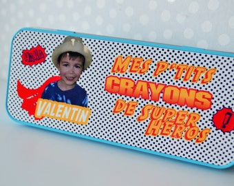 A pencil box custom theme super hero, with or without photo