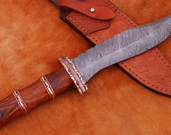 Handmade Damascus Bowie Knife with Leather sheath