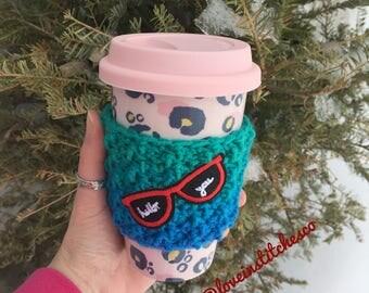 Sunglasses travel cozy, sunnie coffee sleeve, crochet travel mug cozy, mug sweater
