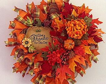 Fall Wreath, Front Door Wreath, Deco Mesh Wreath, Pumpkin Wreath, Whimisical Wreath, Outdoor Wreath, Wreath, Fall Harvest Wreath, Door Decor