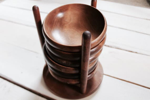 Japanese Wooden Stacking Bowl Set