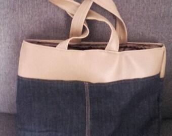 Bag shape bag beige leatherette and jeans