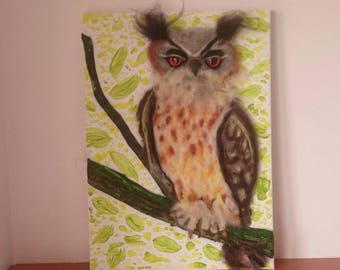 Felted owl picture. Needle felted owl picture. Nursery wall decoration