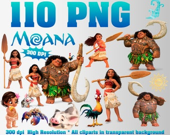 Moana Clipart | 110 PNG 300 Dpi | Transparent background | Moana Party Decorations | Moana, Maui, Heihei, Kakamora, Pua | Digital Files