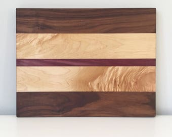 Facegrain walnut, maple and purple heart wood cutting board