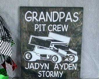 Grandpa's pit crew,Racing sign,Dirt track racing,Sprint Car,Fathers Day,Race Fan, Racing