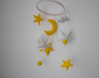 SALE! Baby Mobile Moon Baby mobile stars Nursery Mobile Stars baby mobile White and yellow Moon and stars Cot Mobile Baby crib mobile
