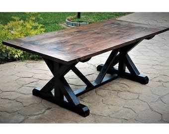 7' Farmhouse Table, X and V Trestle Dining Table, Solid Wood Kitchen Table, Made to Order, Can be Customized