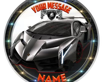 Silver Lamborghini Personalised Edible Icing. Birthday Cake Topper Decoration 7.5""